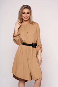 Cappuccino dress daily midi straight accessorized with belt faux leather belt