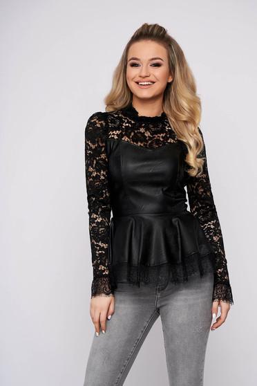 Bluza dama SunShine eleganta neagra din piele ecologica cu aplicatii de dantela cu peplum