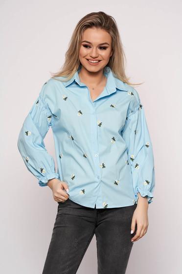 Camasa dama SunShine albastra casual scurta din bumbac cu croi larg si imprimeu floral