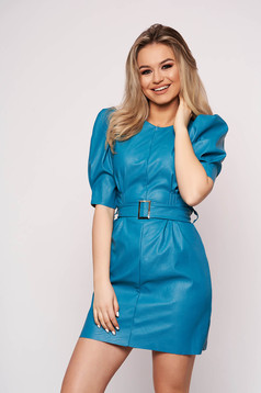 Turquoise dress daily from ecological leather accessorized with belt with puffed sleeves short cut straight