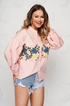 Peach women`s shirt casual cotton embroidered with puffed sleeves