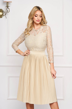 Cream dress occasional cloche midi laced with elastic waist pleats of material