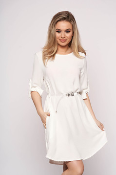 White dress accessorized with belt flared asymmetrical casual with 3/4 sleeves