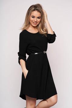 Rochie SunShine neagra casual cu croi larg asimetrica cu accesoriu tip curea cu maneci trei-sferturi