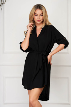 Black dress daily asymmetrical accessorized with tied waistband straight long sleeved