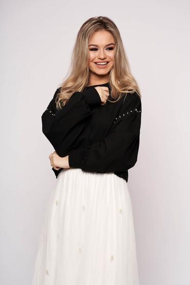 Bluza dama SunShine neagra scurta casual din bumbac cu croi larg si aplicatii cu pietre strass