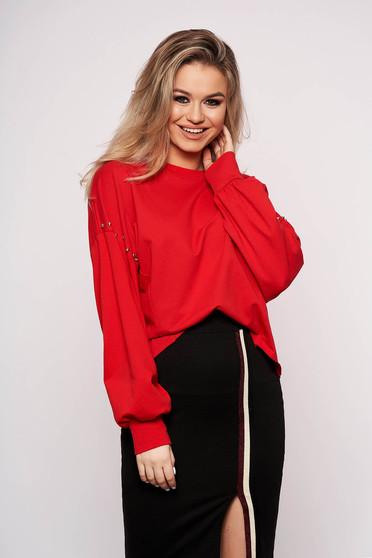 Bluza dama SunShine rosie scurta casual din bumbac cu croi larg si aplicatii cu pietre strass
