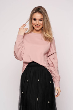 Bluza dama SunShine roz prafuit scurta casual din bumbac cu croi larg si aplicatii cu pietre strass