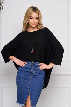 Black women`s blouse flared short cut casual asymmetrical