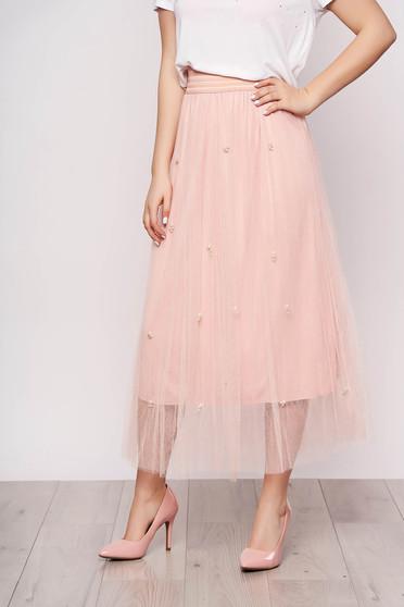 Fusta SunShine roz deschis midi casual din tul cu talie inalta si aplicatii cu perle