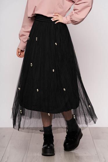 Fusta SunShine neagra midi casual din tul cu talie inalta si aplicatii cu perle
