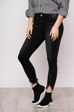 Jeans black casual high waisted ripped zipper accessory