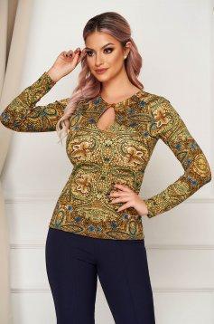 Khaki women`s blouse elegant short cut with tented cut cut-out bust design long sleeved
