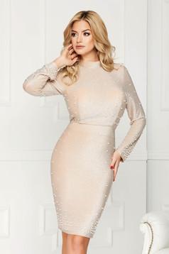 Cream dress elegant occasional midi pencil slightly elastic fabric with pearls