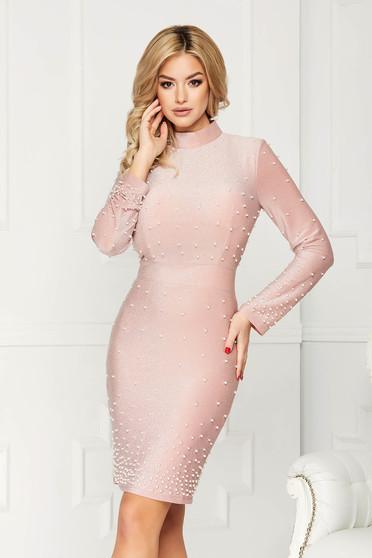 Rochie roz prafuit eleganta midi de ocazie tip creion din material elastic tip lurex cu aplicatii cu perle