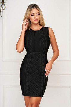 Black dress clubbing short cut pencil sleeveless stretch