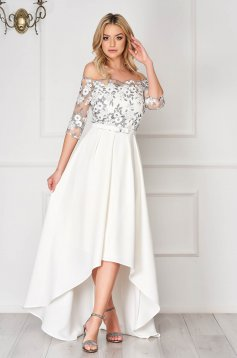 StarShinerS silver dress occasional asymmetrical off-shoulder cotton with embroidery details