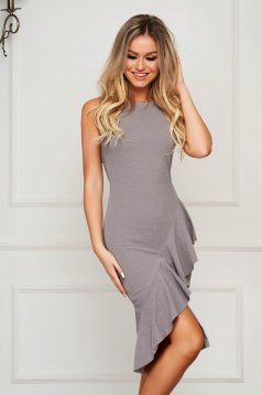 Grey StarShinerS elegant midi sleeveless pencil dress with ruffle details