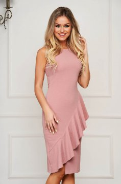 Lightpink StarShinerS elegant midi sleeveless pencil dress with ruffle details