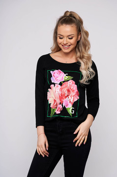 Black casual flared women`s blouse with floral print