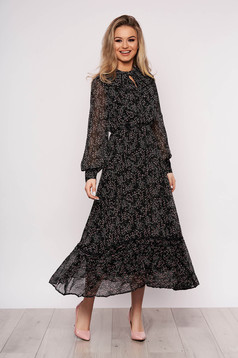 Black dress from veil fabric with floral print daily