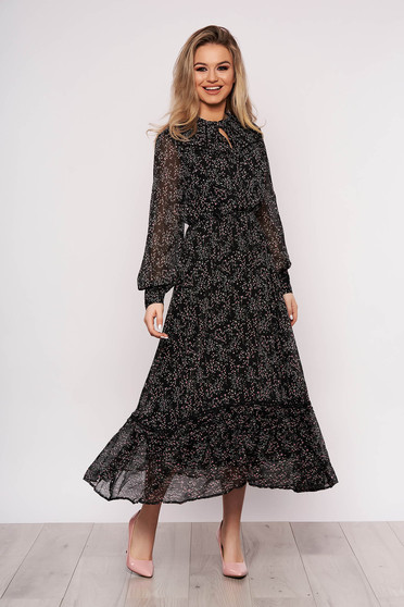 Rochie Top Secret de zi neagra din voal cu imprimeu floral