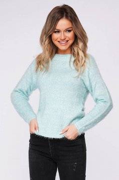 Mint sweater tented from fluffy fabric knitted