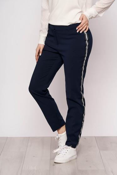 Pantaloni Top Secret albastru-inchis office din stofa conici cu talie inalta cu dungi orizontale cu buzunare
