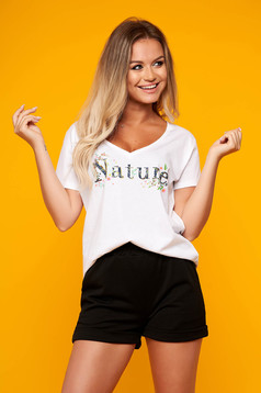 White casual short cut cotton fabric flared t-shirt with v-neckline