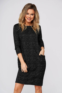 Black dress casual cloth flared with pockets