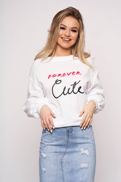 White women`s blouse casual long sleeved with writing print