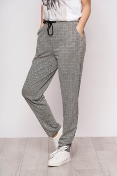 Grey trousers casual with print details dogtooth high waisted with pockets straight