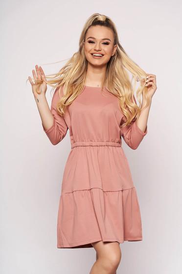 Rochie Top Secret roz-inchis casual scurta de zi din bumbac in clos cu volanase si maneci lungi