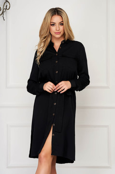 Black dress daily straight long sleeved casual
