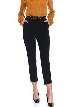 Pantaloni Top Secret negri casual conici din stofa subtire cu buzunare