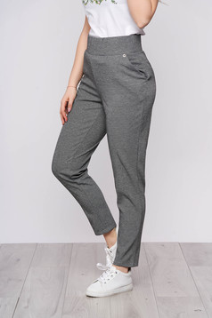 Pantaloni Top Secret gri inchis casual cu talie inalta cu buzunare si imprimeu dogtooth