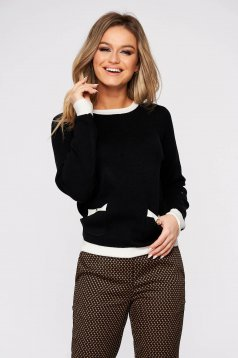 Black sweater casual flared knitted fabric with button accessories