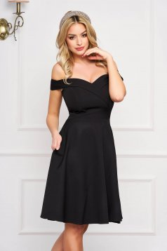 StarShinerS black dress cloche occasional off-shoulder midi slightly elastic fabric