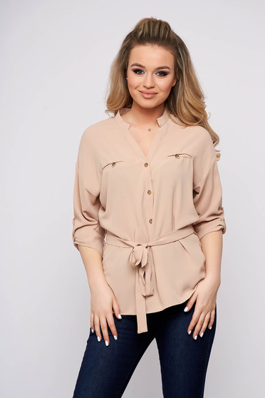 Bluza dama Top Secret piersica casual scurta cu croi larg din bumbac accesorizata cu nasturi