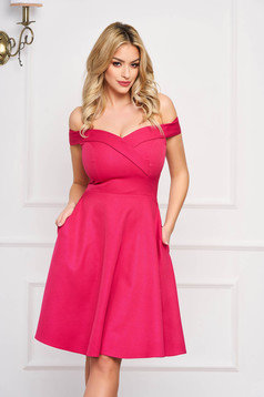 StarShinerS fuchsia dress cloche occasional off-shoulder midi slightly elastic fabric