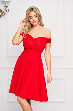 StarShinerS red dress cloche occasional off-shoulder midi slightly elastic fabric