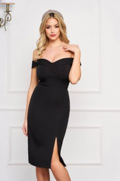 StarShinerS black dress slit occasional off-shoulder midi pencil