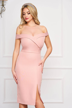 StarShinerS lightpink dress slit occasional off-shoulder midi pencil