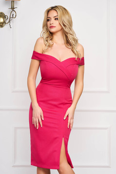 StarShinerS fuchsia dress slit occasional off-shoulder midi pencil