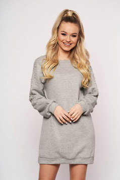 Grey dress cotton short cut straight casual with pearls long sleeved