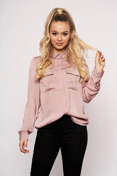 Pink women`s shirt from satin short cut flared with pockets long sleeved casual