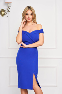 StarShinerS blue dress slit occasional off-shoulder midi pencil