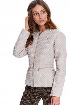 Cream jacket casual short cut with pockets