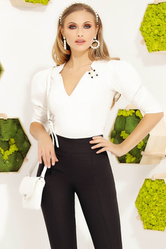 Women`s shirt white elegant accessorized with breastpin with v-neckline with puffed sleeves