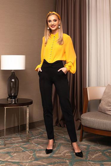 Pantaloni PrettyGirl negri office din stofa conici cu talie inalta accesorizati cu o fundita